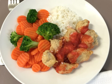 Sweet & Sour Pork with Boiled Rice and Veggies