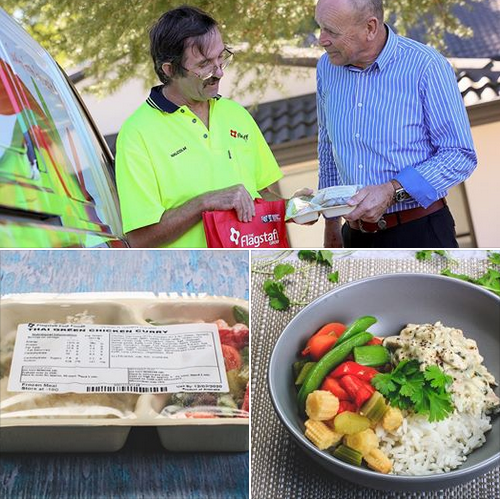 Image: 3 panels  displaying man handin over flagstaff frozen meal, meal packaging and served in a dish
